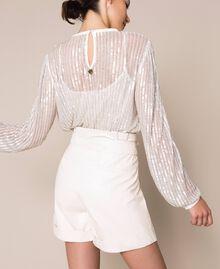 """Short en similicuir avec ceinture Blanc """"Soie"""" Femme 201ST2115-03"""