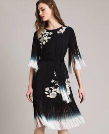 Kleid mit Blumenstickerei und Fransen Schwarz Frau 191TT2132-04