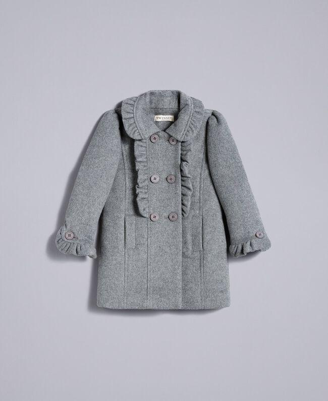 Mantel aus Tuch mit Rüschen Durchschnittgrau-Mélange Kind FA82CG-01