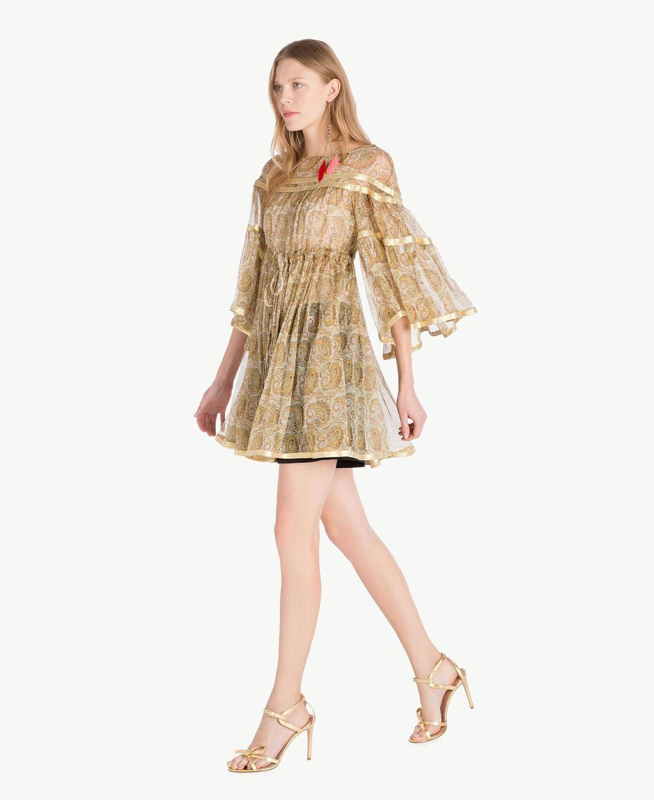 Silk tunic Yellow Macro Paisley Print Woman TS825N-02