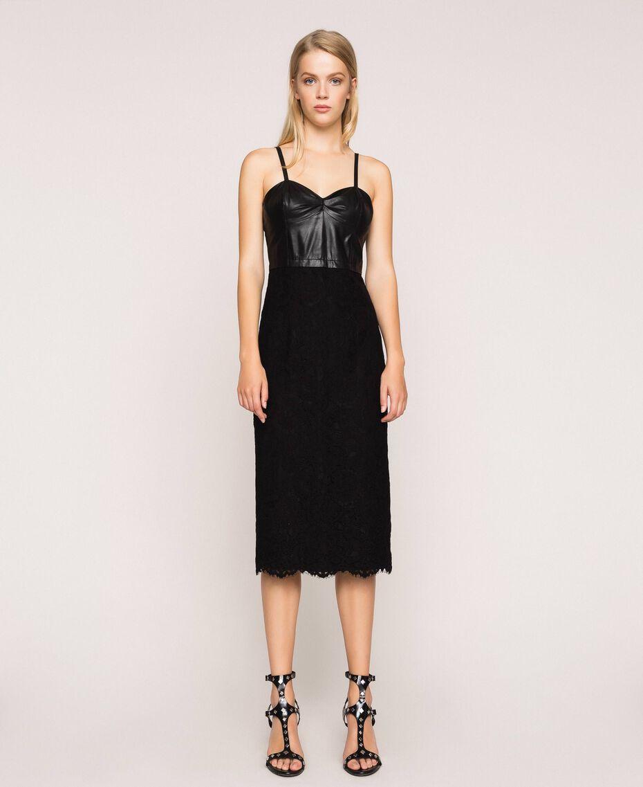Macramé lace sheath dress Black Woman 201MP2233-02