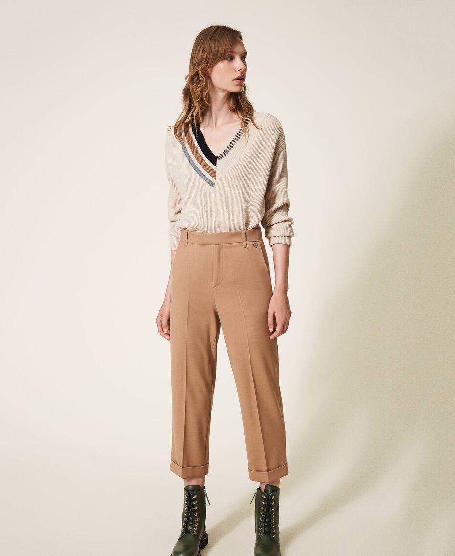 Hose aus Wolle und Stretch Kamel Frau 202TP2275-01