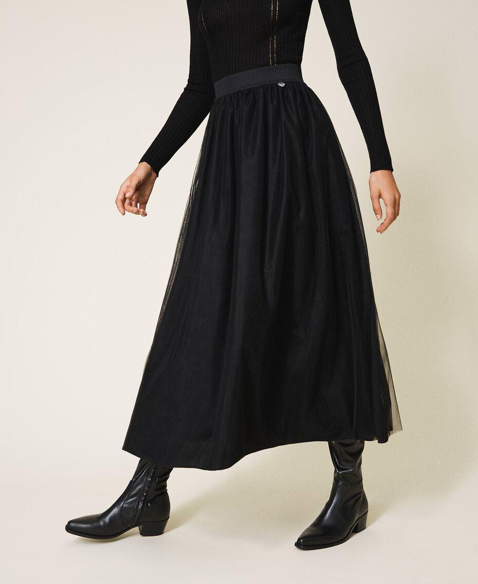 Jupe longue en tulle Noir Femme 202TP239A-02