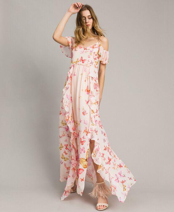Georgette butterfly print long dress