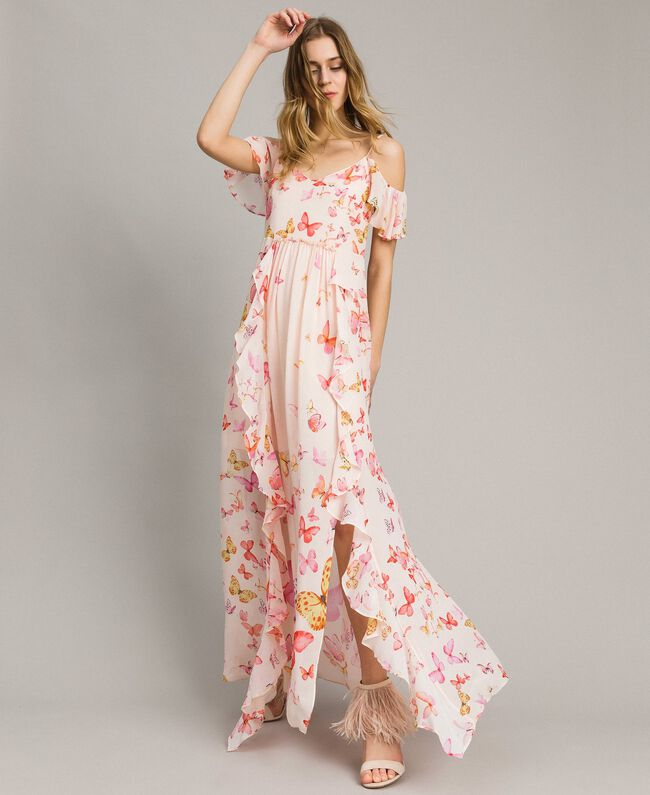 Robe longue en georgette à imprimé papillon Imprimé Papillon Rose Mixte Femme 191TT2391-01