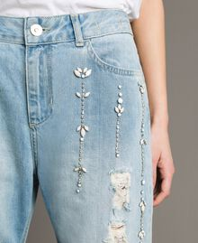 Jean girlfriend avec strass et pierres Bleu Denim Femme 191MT2180-04