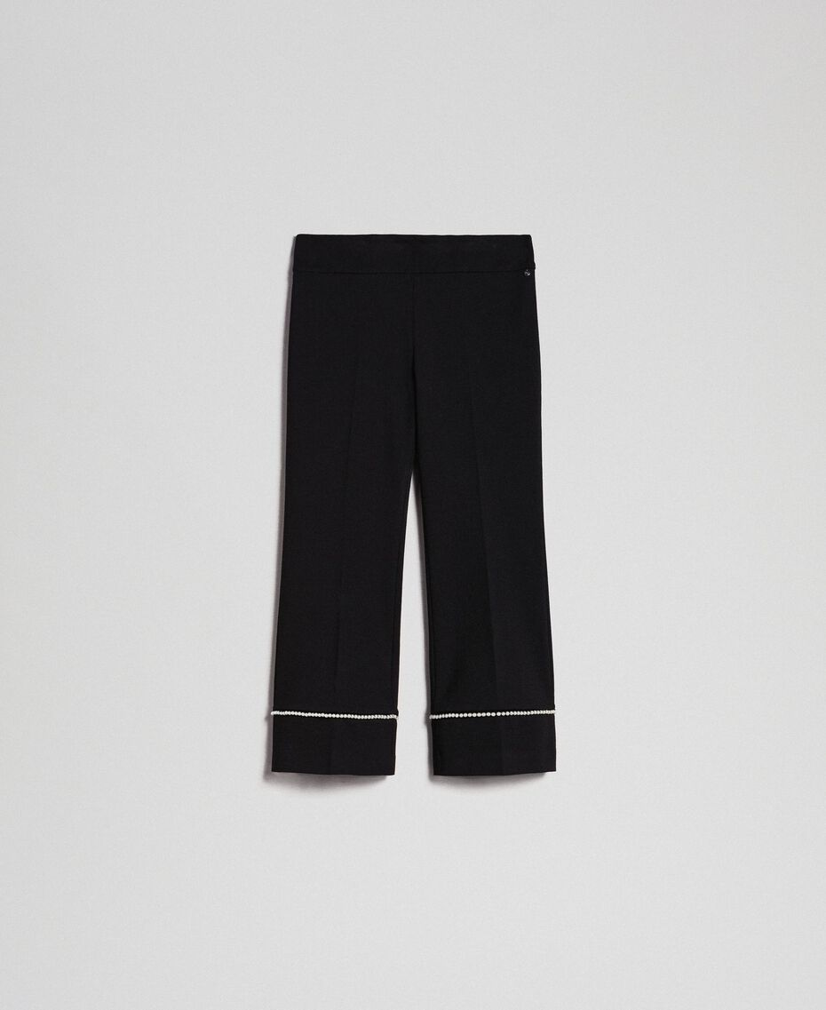 Flared trousers with pearl embroidery Black Woman 192TP2082-0S