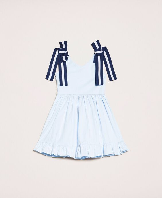 Поплиновое платье с воланом