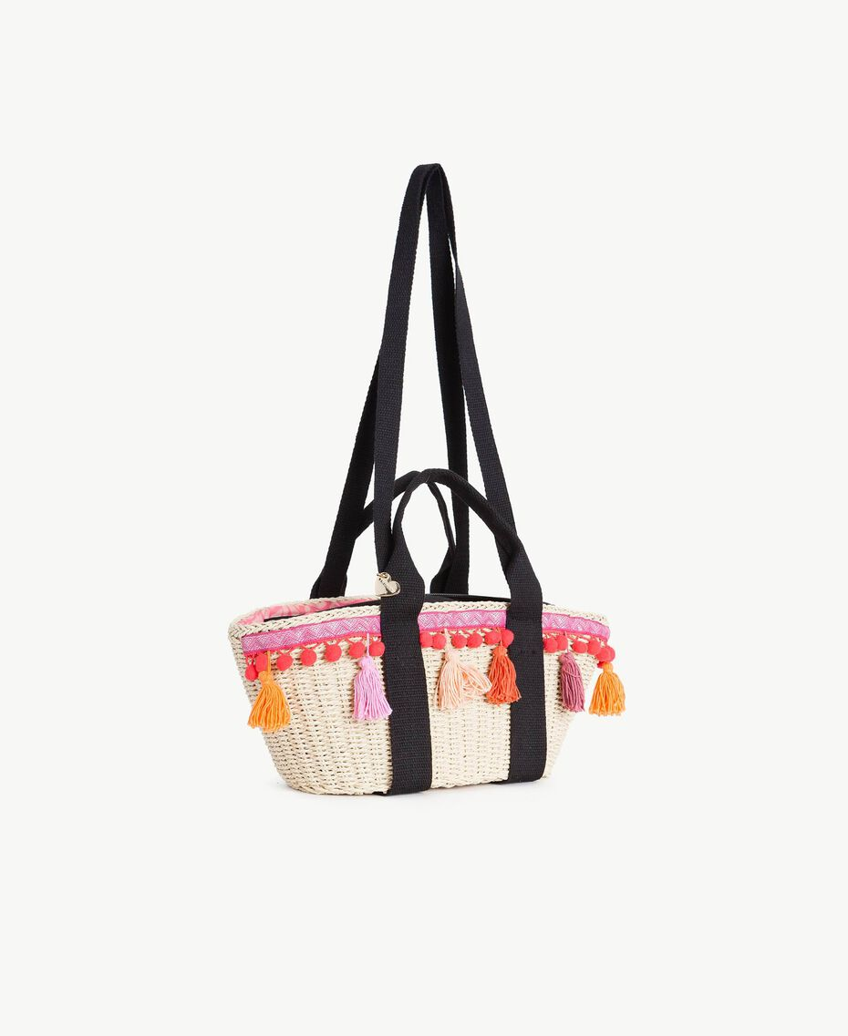 TWINSET Straw bag Multicolour Provocateur Pink / Orange / Black Woman OS8THA-02