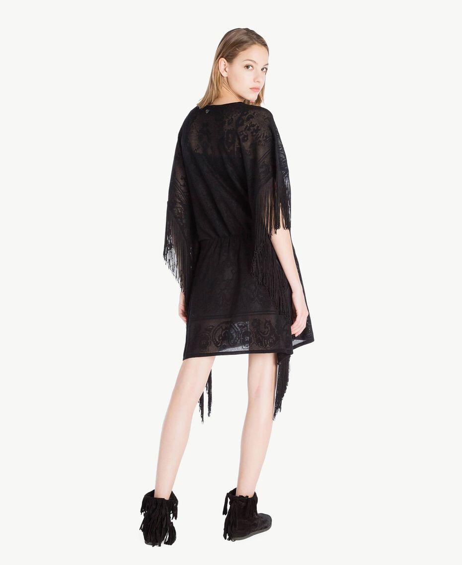 Poncho jacquard Noir Femme TS835D-03