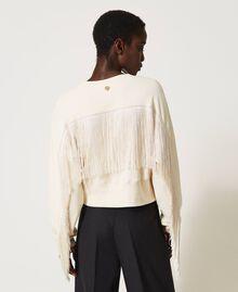 Sweat court avec franges Blanc Crème Femme 202TP265F-04