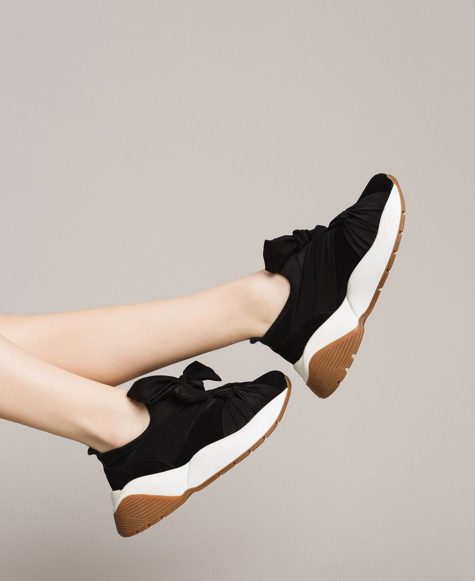 Giant bow textile trainers Black Woman 191TCP154-0S