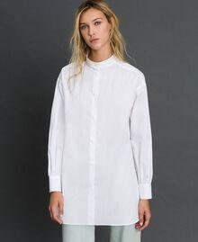 Long poplin shirt with gatherings White Woman 192ST2071-02