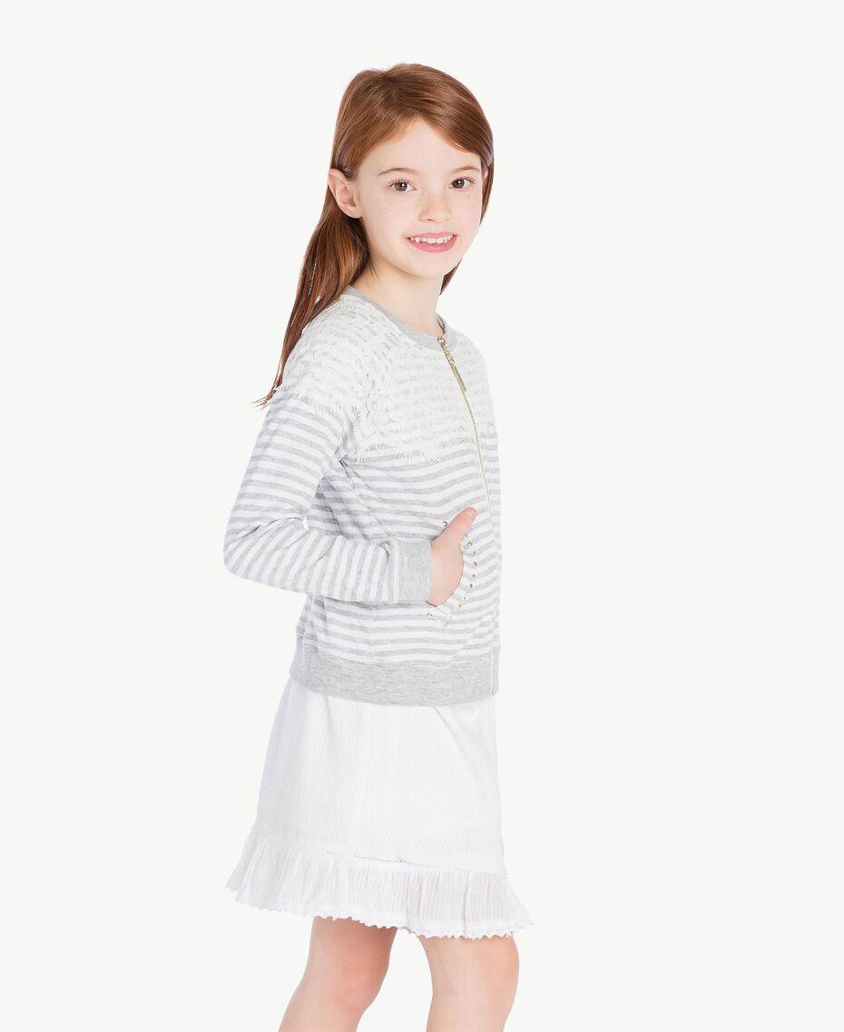 "Lace sweatshirt ""Papyrus"" White / Melange Grey / Chantilly Child GS82UB-03"