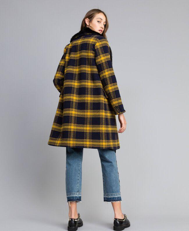 Manteau en drap à carreaux Bicolore Tartan Bleu /Jaune Doré Femme YA82DQ-03