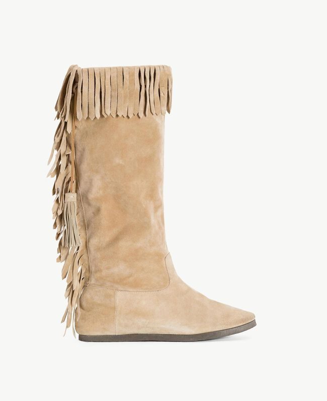 "TWINSET Fringed boots ""Dune"" Beige Woman CS8TAU-01"