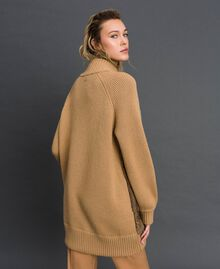 Manteau en maille avec insertion en lapin Marron « Iced Coffee » Femme 192TP3020-03
