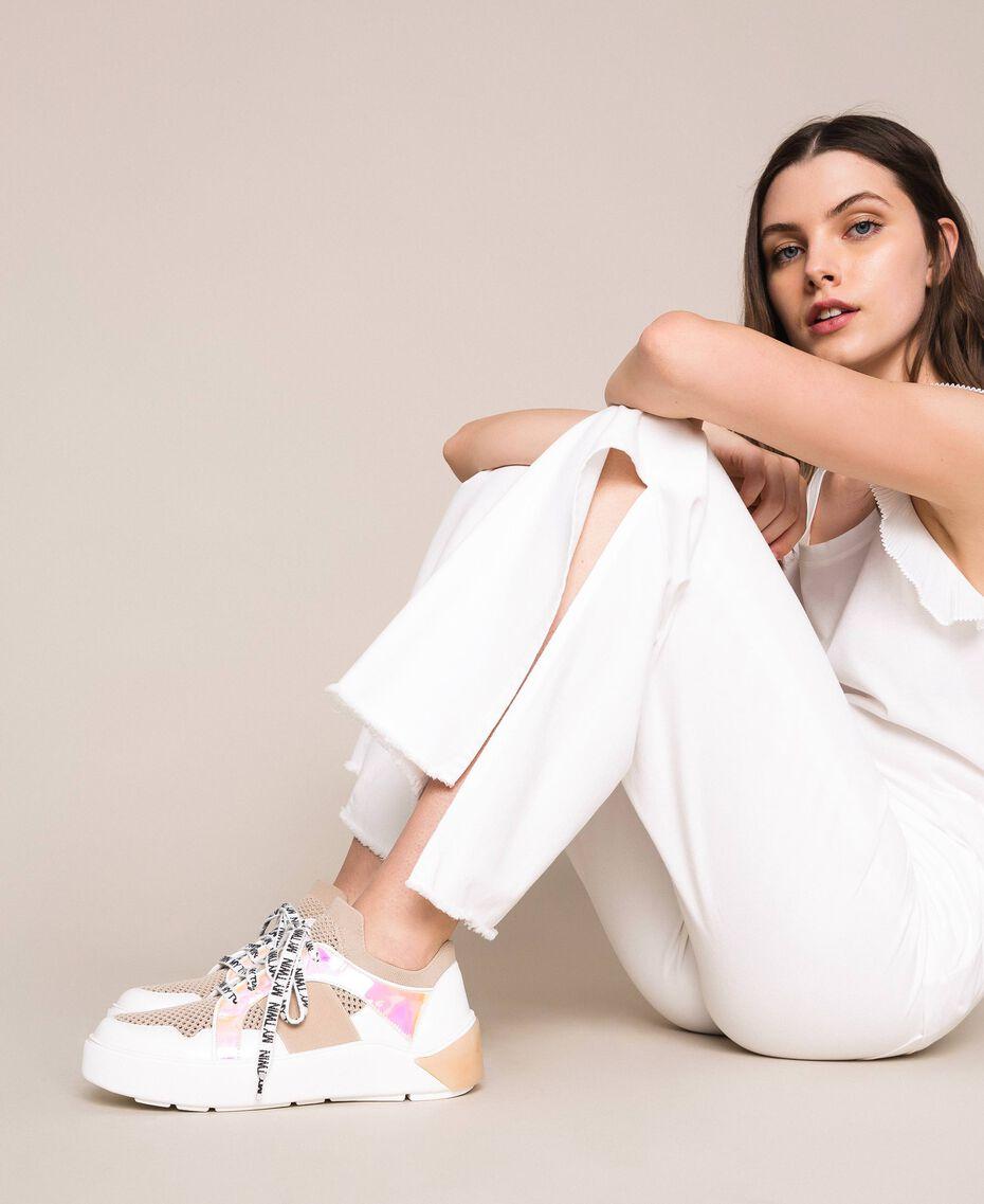 "Sneakers aus Mesh mit Detail aus Lederimitat Multicolor ""Quarz""-Rosa / Vanille / ""Iris""-Grün Frau 201MCP130-0S"