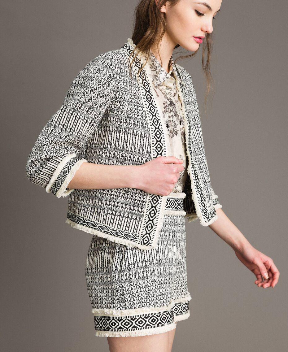 "Ethnic-motif jacquard jacket ""Marzipan"" Beige / Black Jacquard Woman 191TT2431-02"