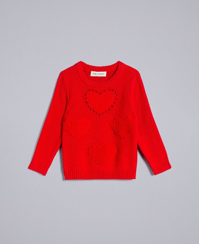 Jumper with hearts Poppy Red Child FA83DB-01