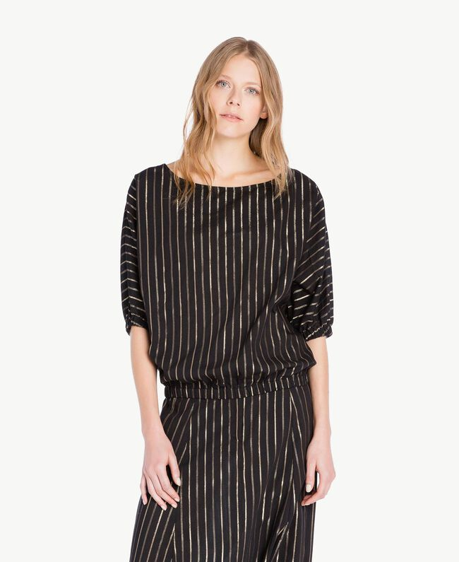 Jacquard blouse Black Jacquard / Gold Stripes Woman TS82VD-01