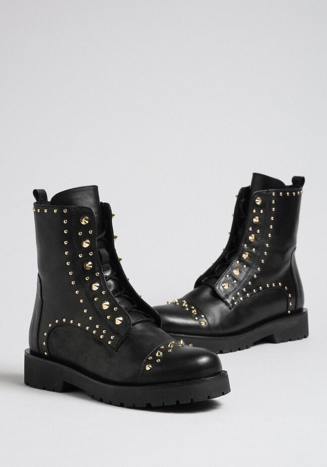 Leather combat boots with studs