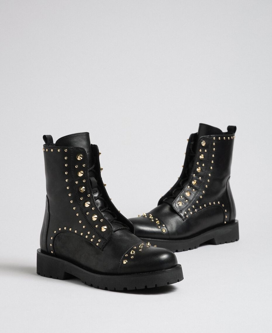 Leather combat boots with studs Black Woman 192TCP018-01