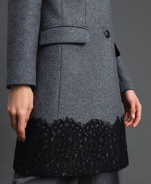 Wool cloth coat with lace Medium Gray Mélange Woman 192TP2314-04