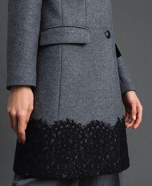 Manteau en drap avec dentelle Gris moyen chiné Femme 192TP2314-04