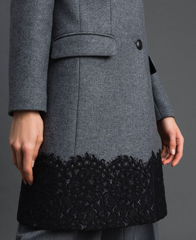 Wool cloth coat with lace Black Woman 192TP2314-04