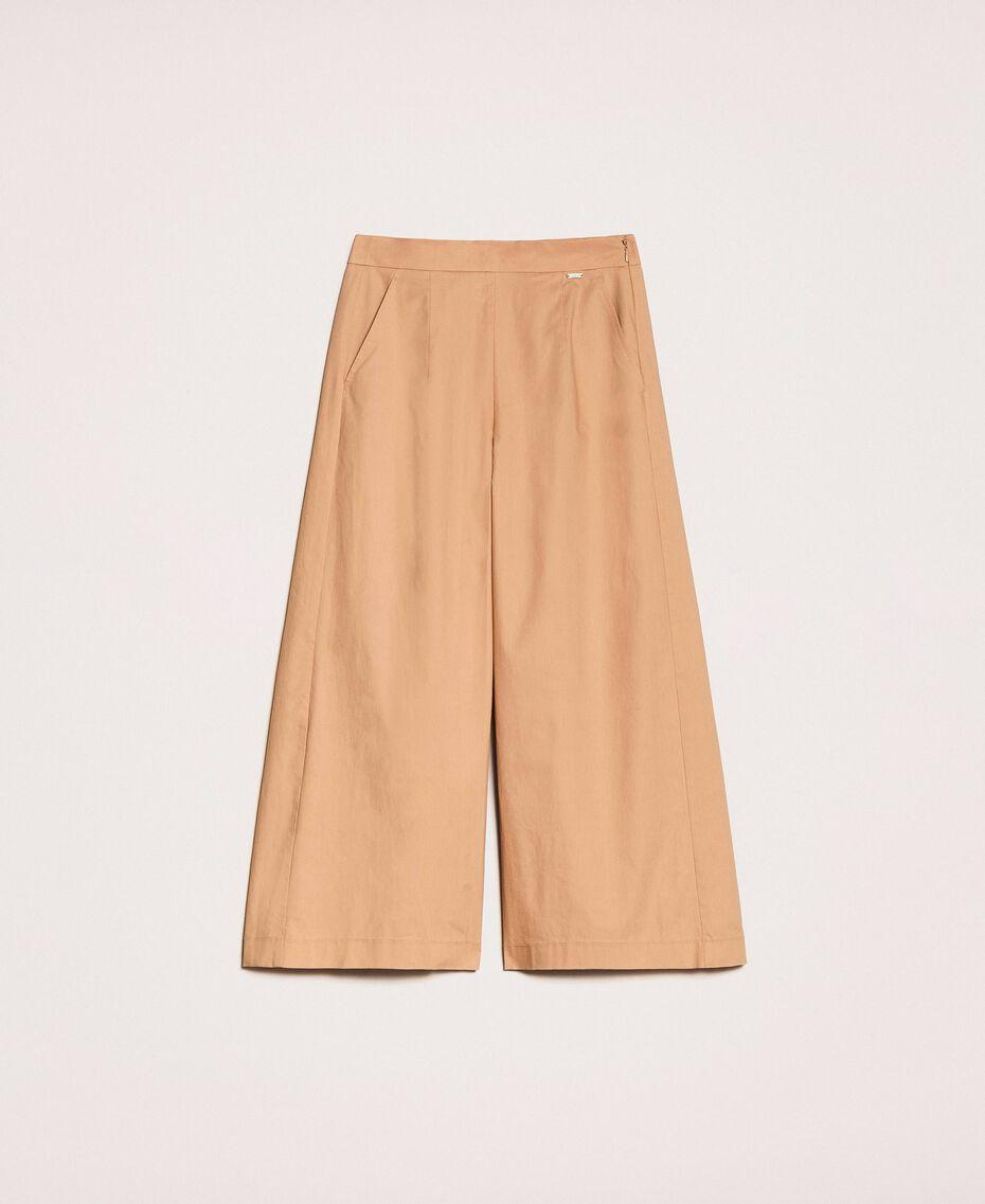 Pantalon cropped en popeline Marron Clair Femme 201ST202C-0S