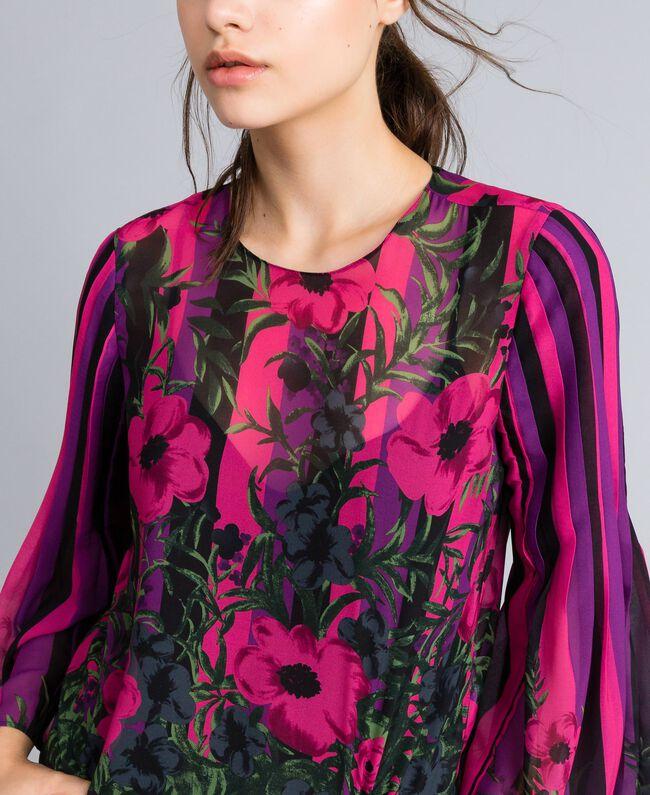 "Bluse aus Chiffon mit Blumenprint Print ""Flower&Stripes"" Frau TA829N-04"