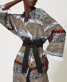 Jacquard maxi cardigan with fringes Multicolour Jacquard Textured Woman 211TT3271-05
