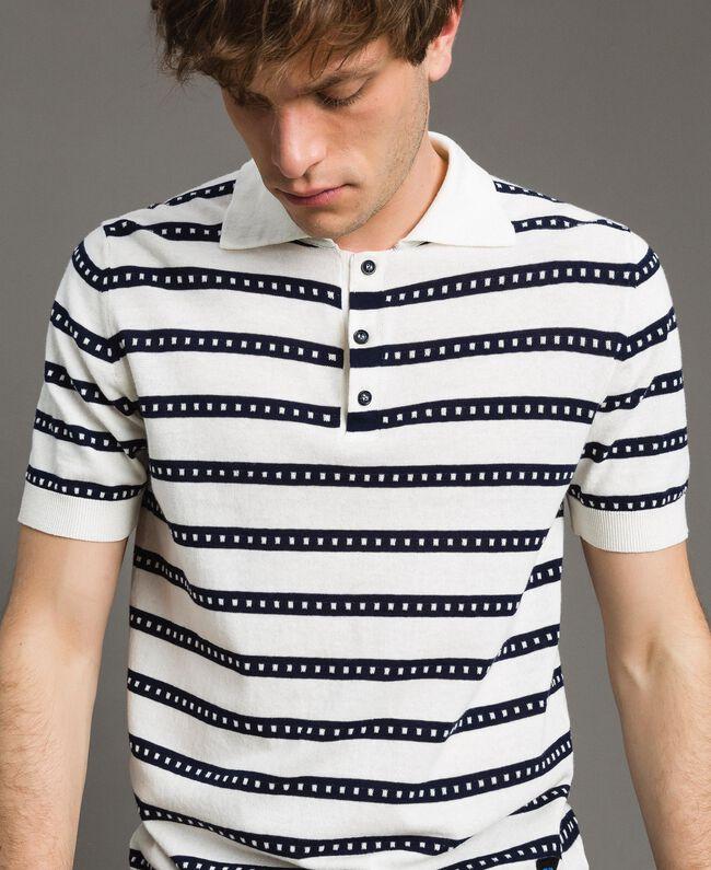 "Crêpe cotton striped polo shirt Two-tone Opaque White / ""Blackout"" Blue Man 191UT3030-01"