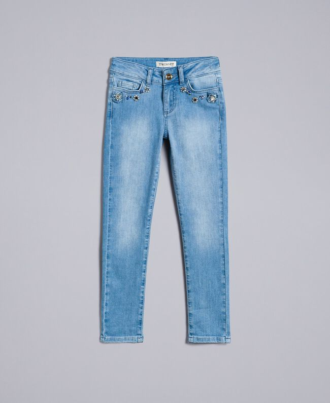 Jeans skinny con pietre e strass Denim Chiaro Bambina GA82VN-01