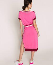 """Двухцветное трикотажное платье с поясом Двухцветный Красный """"Пурпурный"""" / Супер-розовый женщина 201ST3030-05"""