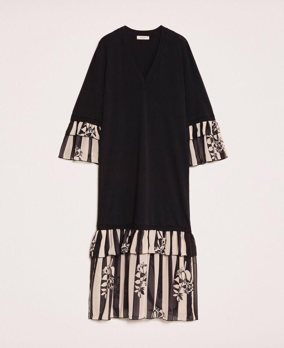 Robe en maille avec volants imprimés Bicolore Noir / Imprimé Rayure Femme 201TP3252-0S