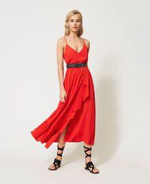 """Long silk blend dress """"Coral"""" Red Woman 211TT2142-0T"""
