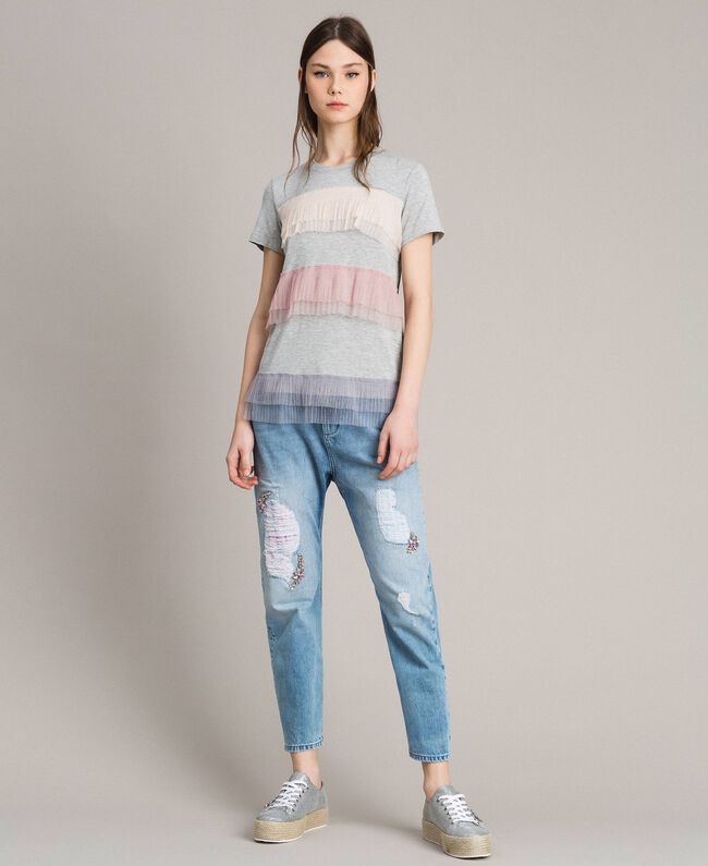 Bestickt und gerippte Girlfriend-Jeans Denimblau Frau 191MP2480-01