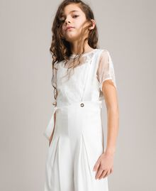 Georgette and satin jumpsuit Off White Child 191GJ2QJ0-04