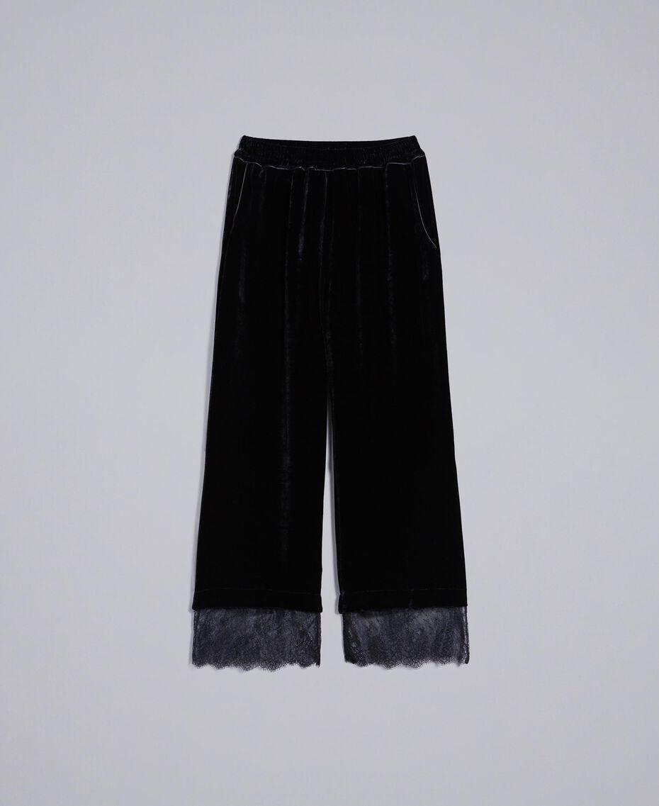 Pantalón cropped de terciopelo Negro Mujer TA826S-0S