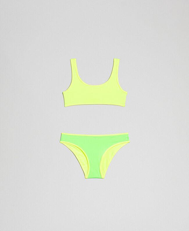Reversible bikini Fluorescent Green / Fluorescent Yellow Child 191TQM027-01