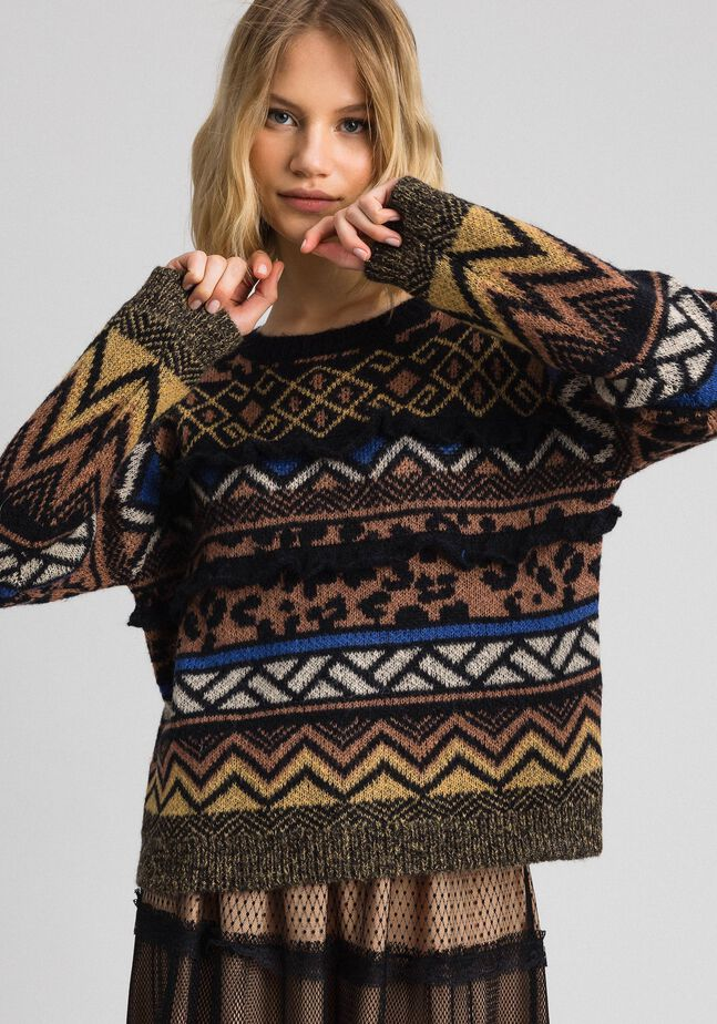 Wool and mohair jumper with jacquard patterns