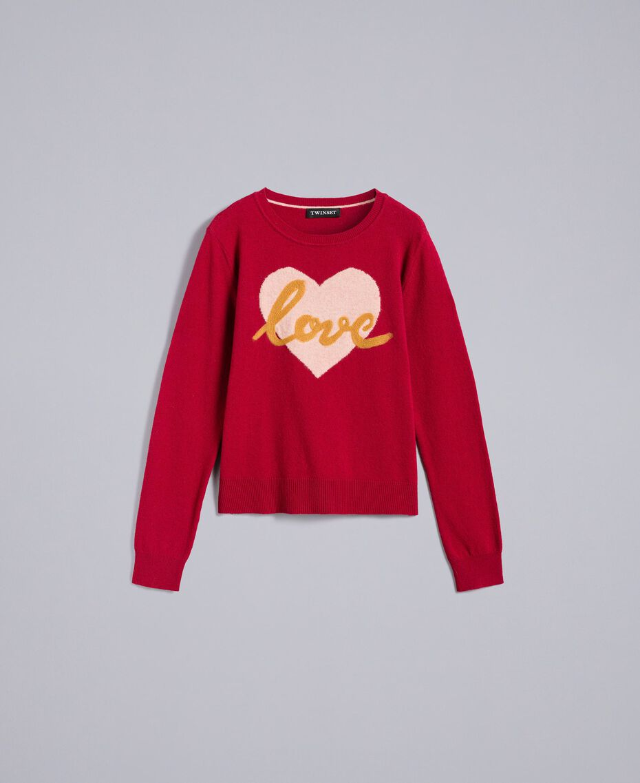 "Wool blend jumper with heart ""Dark Raspberry"" Red Needle Punch Embroidery Woman TA83JE-0S"