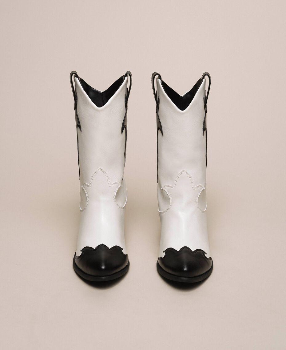 Ковбойские сапоги из двухцветной искусственной кожи Двухцветный Лилия / Черный женщина 201MCP050-05