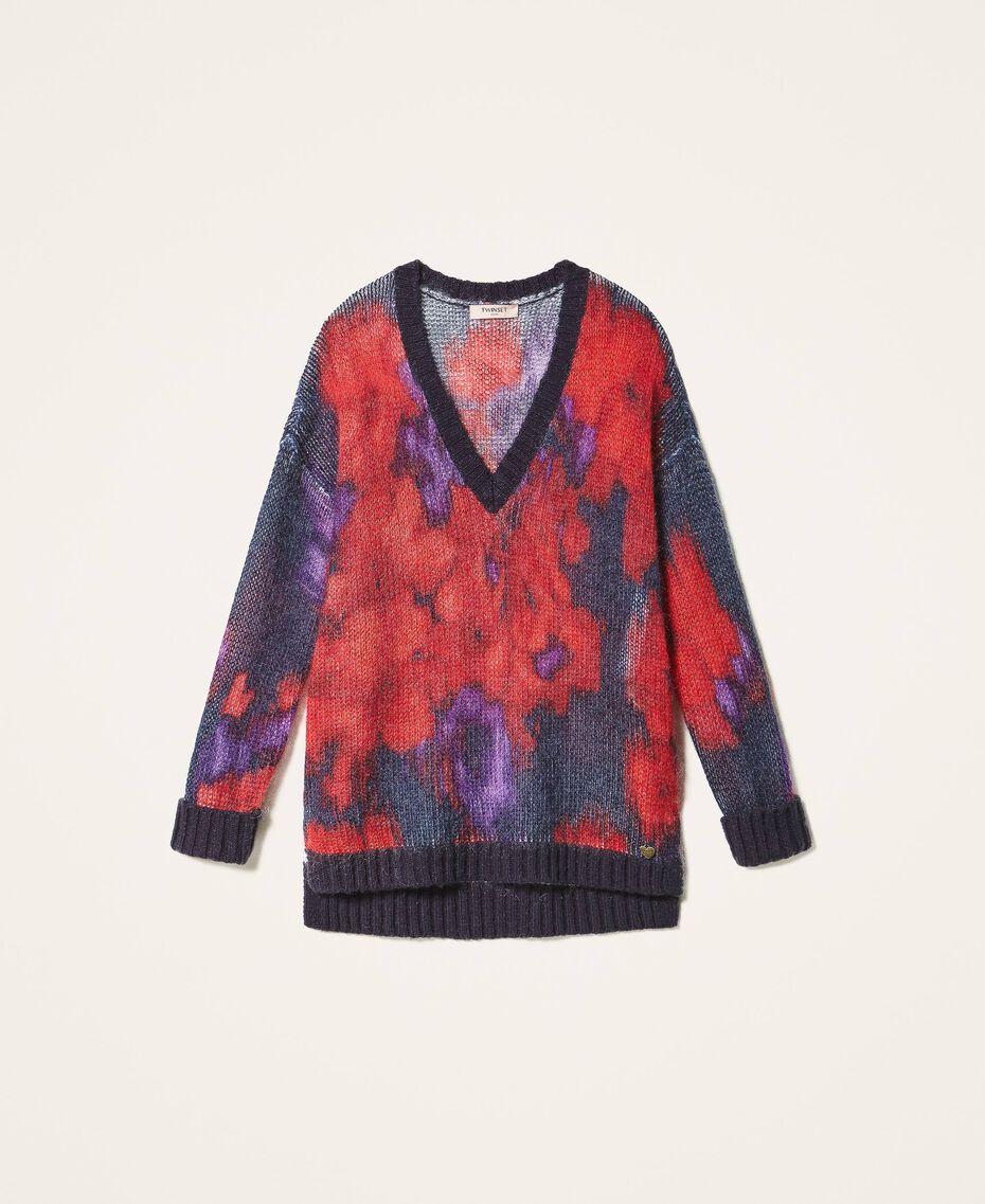 Maxi pull en laine et mohair floral Imprimé Grande Fleur Violet «Vibrant» / Rouge Vénitien Femme 202TT3300-0S