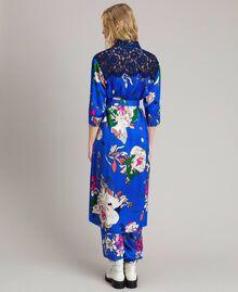 Satin-Hemd-Kleid mit Blumenmuster Motiv Windblumen Kornblumenblau Frau 191TP2454-04