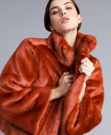 """Giacca corta in similpelliccia Rosso """"Redwood"""" Donna SA82BB-04"""
