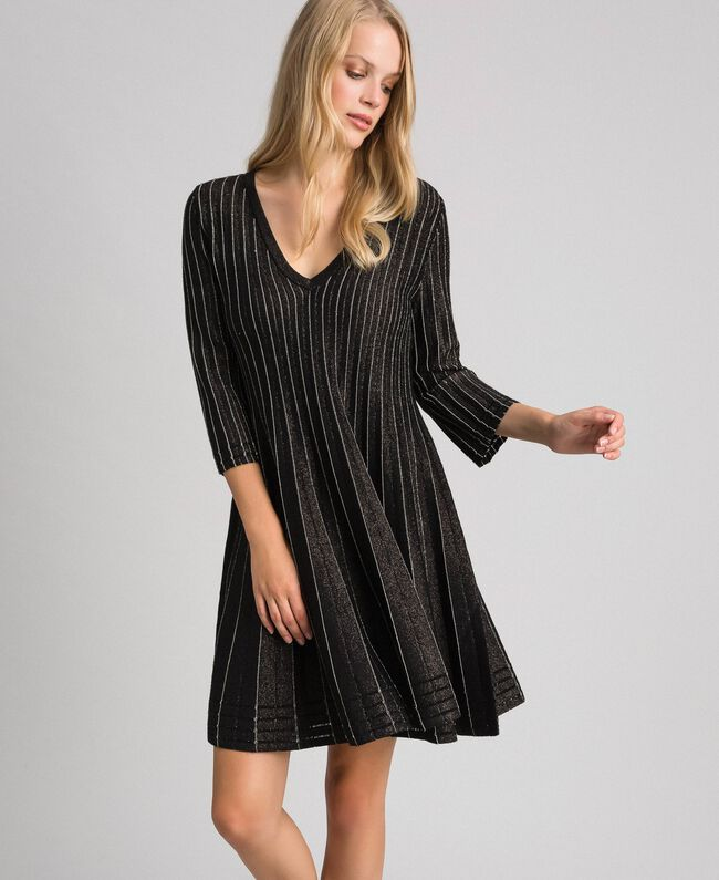 Pleated lurex knit dress Lurex Black Woman 192TP3302-01