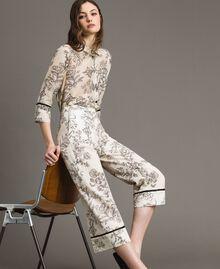 Floral print linen trousers Toile De Jouy Black Print Woman 191TT2461-01
